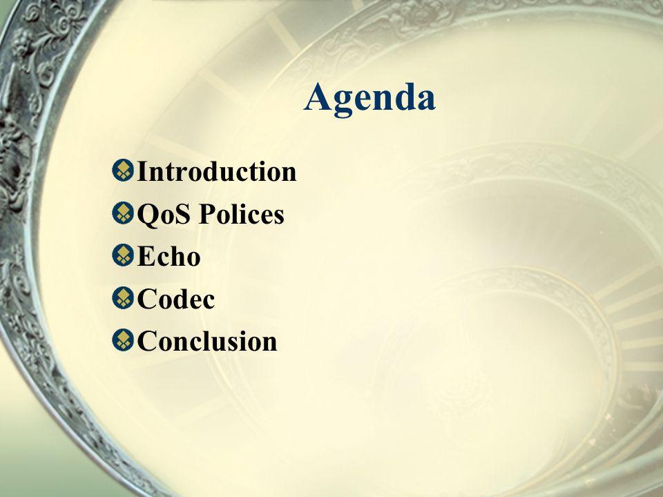 Agenda Introduction QoS Polices Echo Codec Conclusion