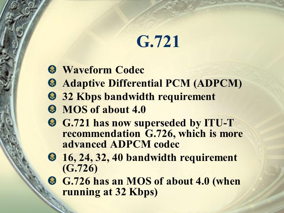 G.721 Waveform Codec Adaptive Differential PCM (ADPCM)