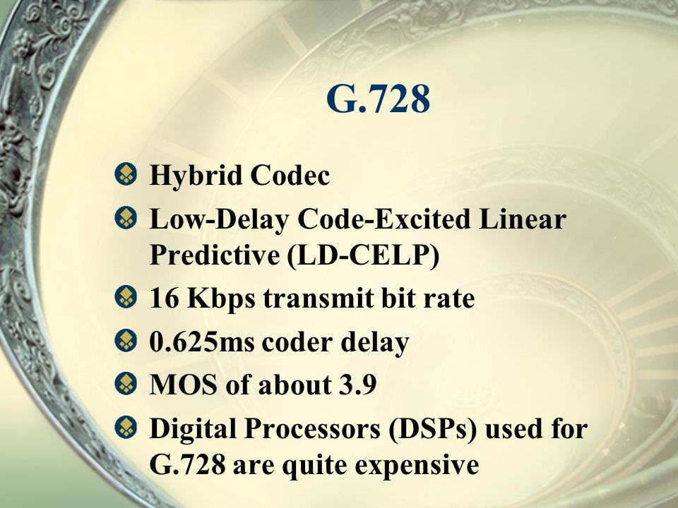 G.728 Hybrid Codec Low-Delay Code-Excited Linear Predictive (LD-CELP)