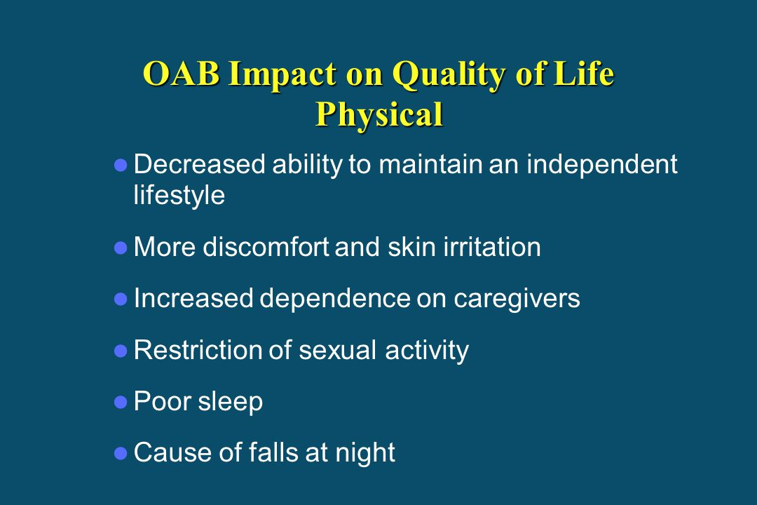 OAB Impact on Quality of Life Physical