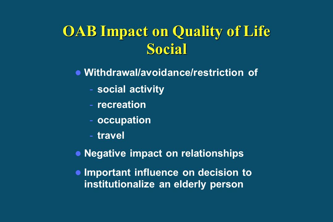 OAB Impact on Quality of Life Social
