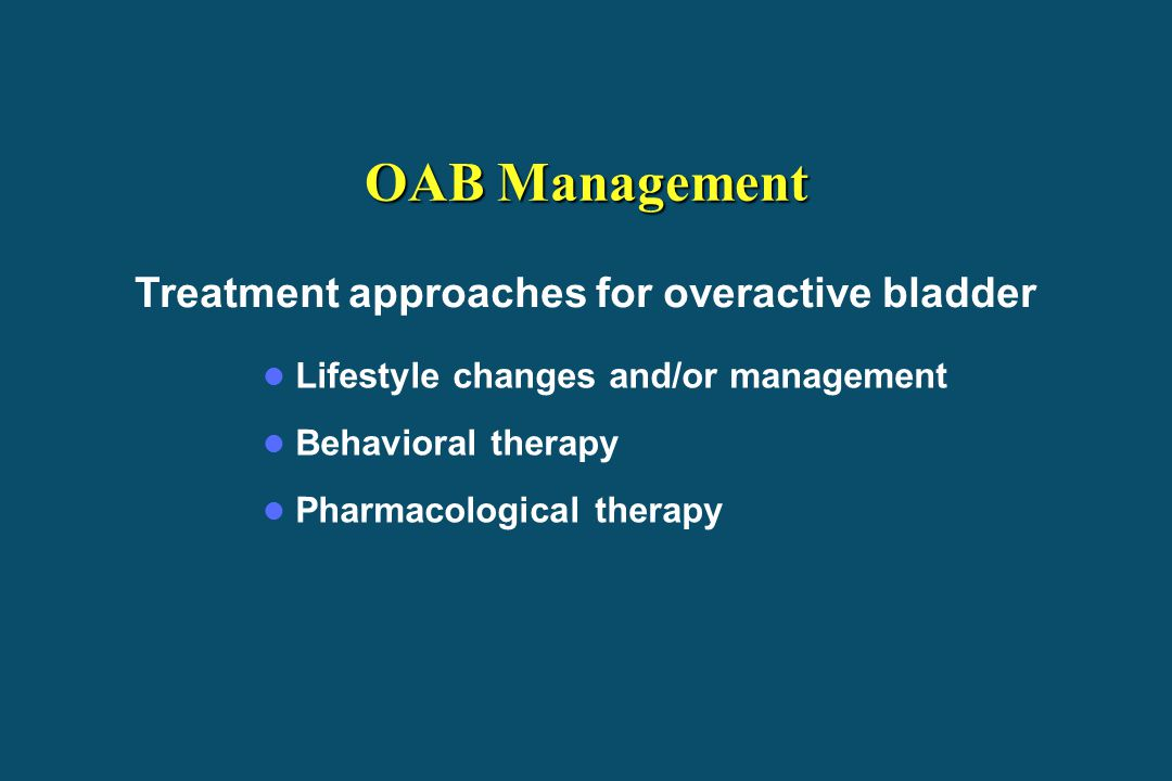 Treatment approaches for overactive bladder