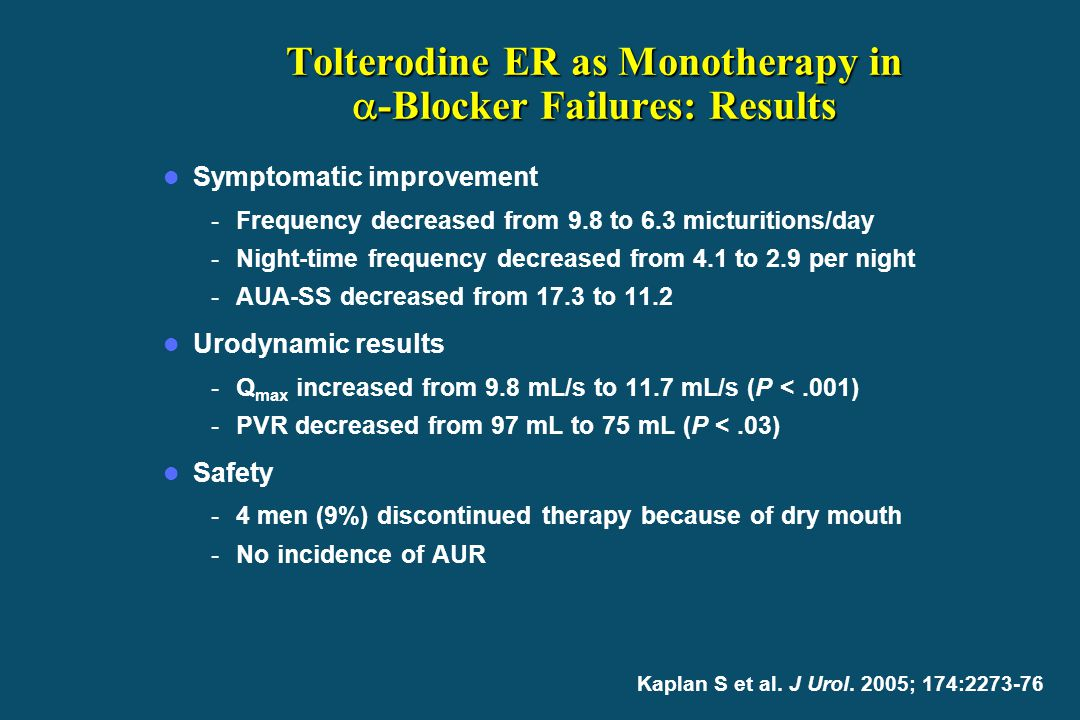 Tolterodine ER as Monotherapy in -Blocker Failures: Results