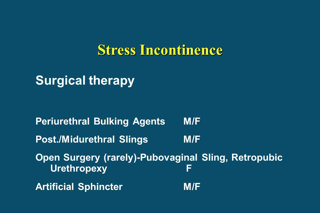 Stress Incontinence Surgical therapy Periurethral Bulking Agents M/F