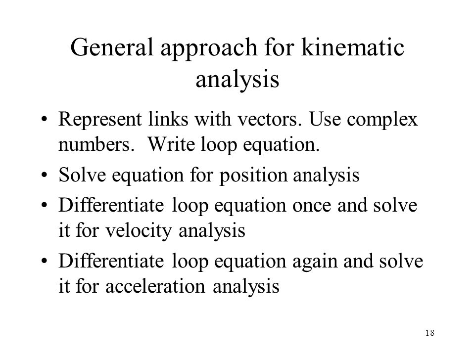 General approach for kinematic analysis