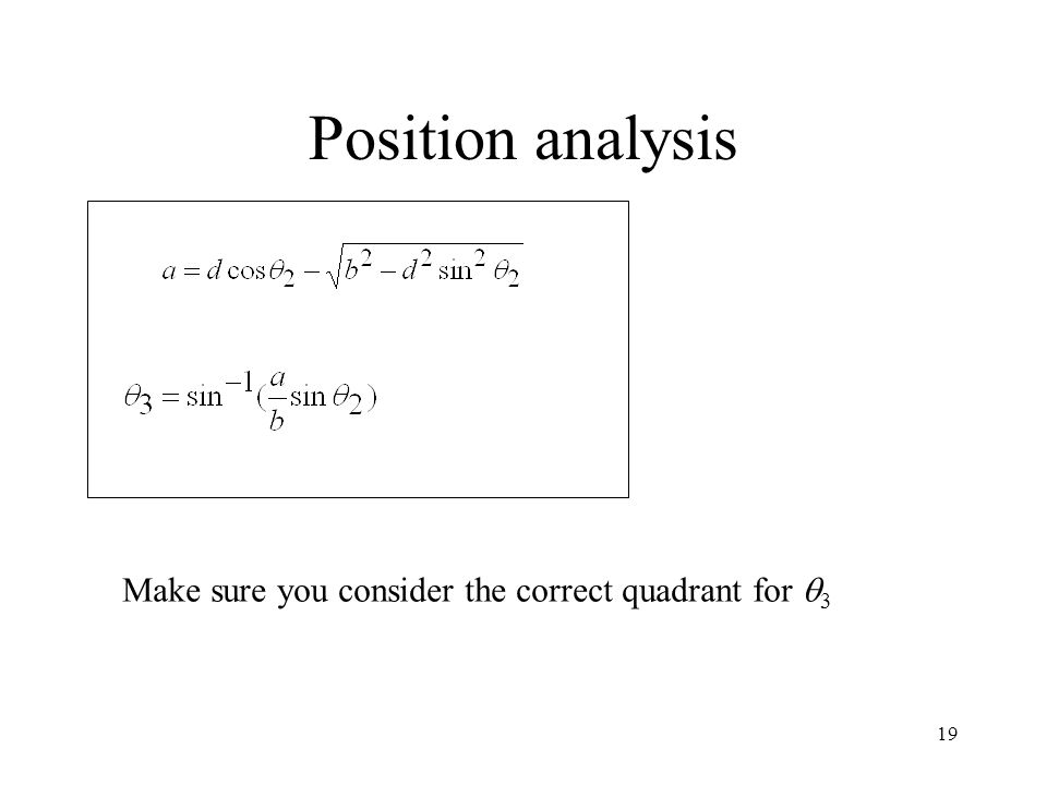 Position analysis Make sure you consider the correct quadrant for 3