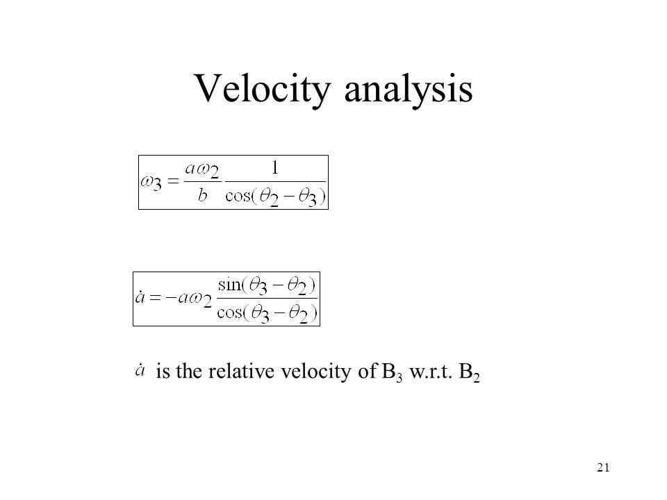 Velocity analysis is the relative velocity of B3 w.r.t. B2