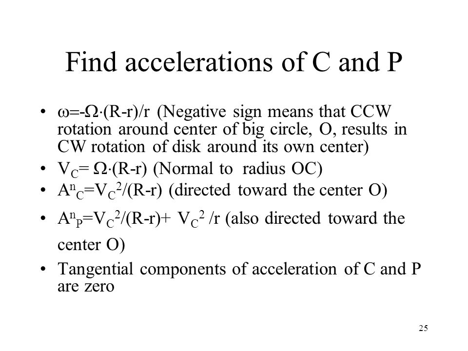 Find accelerations of C and P