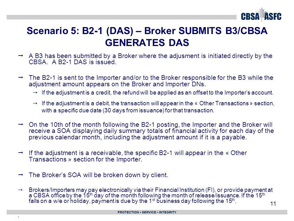 Scenario 5: B2-1 (DAS) – Broker SUBMITS B3/CBSA GENERATES DAS
