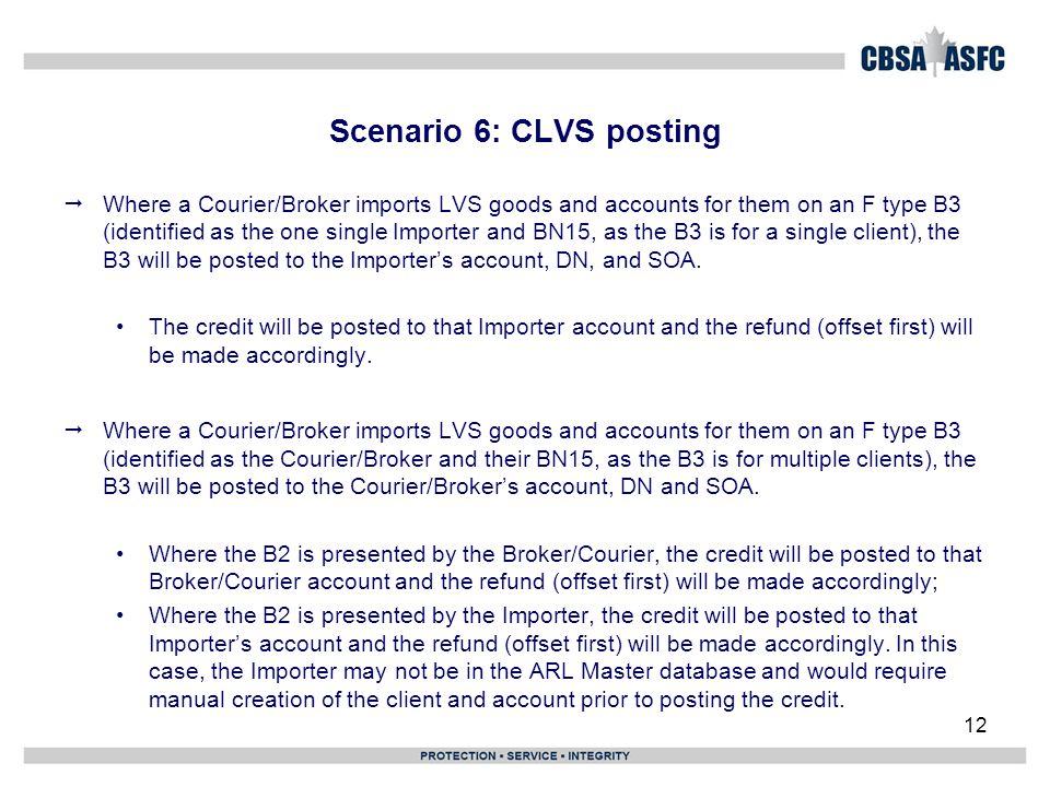 Scenario 6: CLVS posting