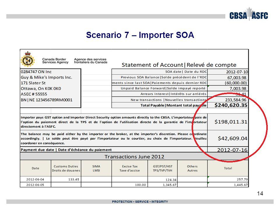 Scenario 7 – Importer SOA