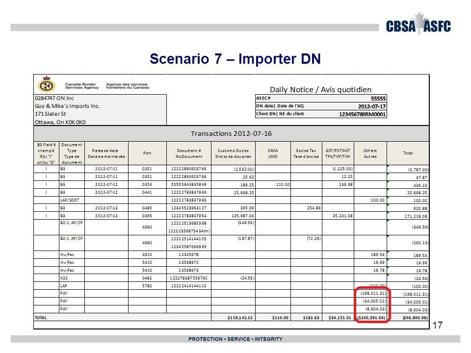Scenario 7 – Importer DN