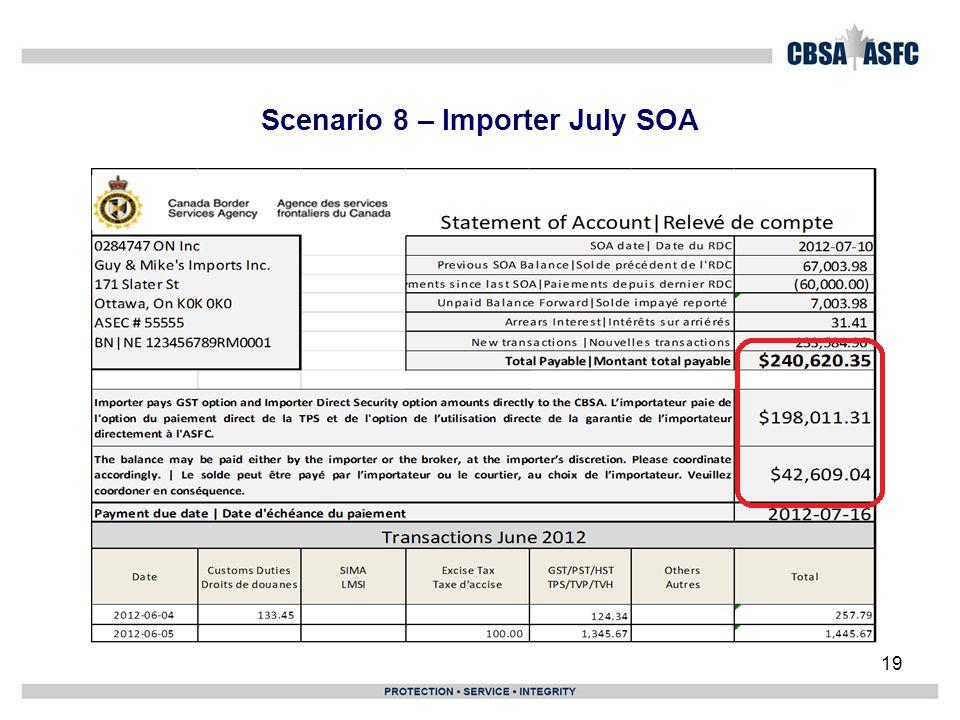 Scenario 8 – Importer July SOA