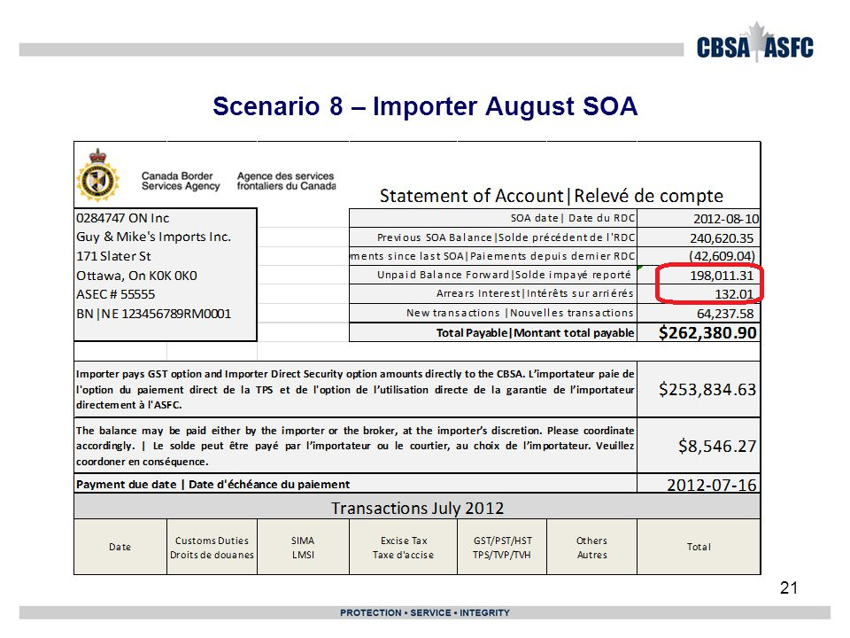 Scenario 8 – Importer August SOA