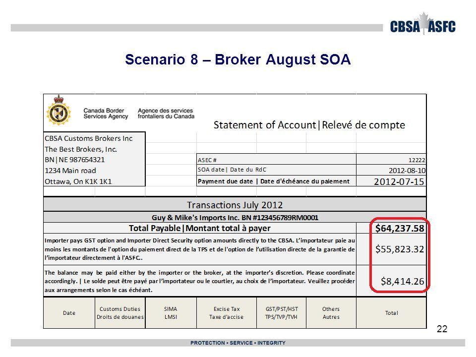 Scenario 8 – Broker August SOA