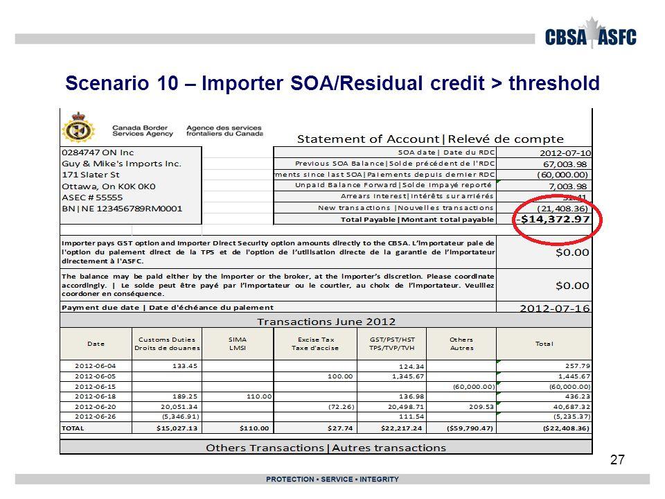 Scenario 10 – Importer SOA/Residual credit > threshold