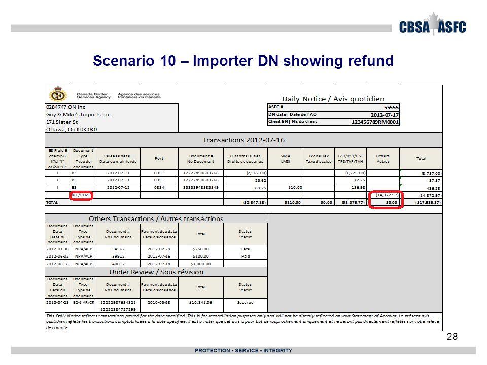 Scenario 10 – Importer DN showing refund