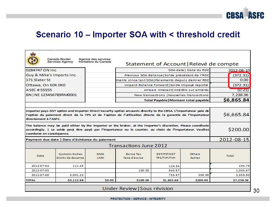 Scenario 10 – Importer SOA with < threshold credit