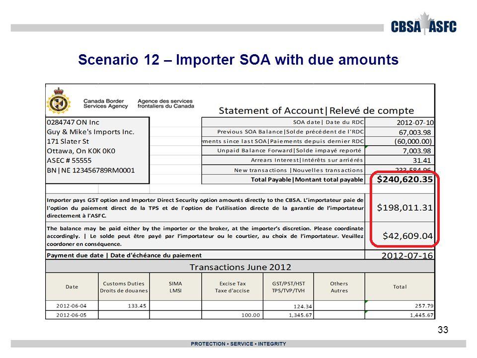 Scenario 12 – Importer SOA with due amounts
