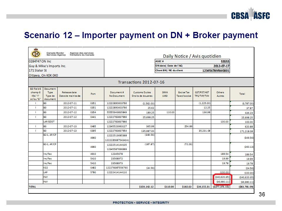 Scenario 12 – Importer payment on DN + Broker payment