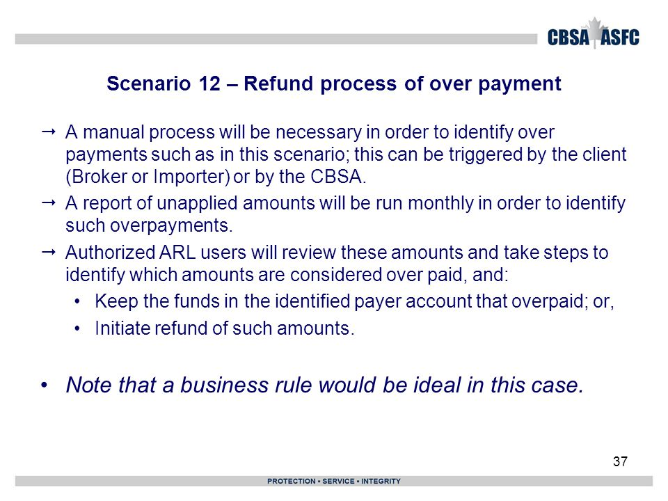 Scenario 12 – Refund process of over payment