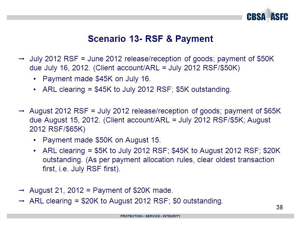 Scenario 13- RSF & Payment