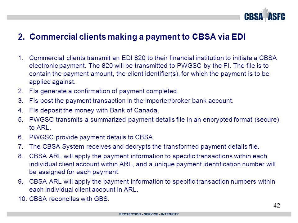 2. Commercial clients making a payment to CBSA via EDI