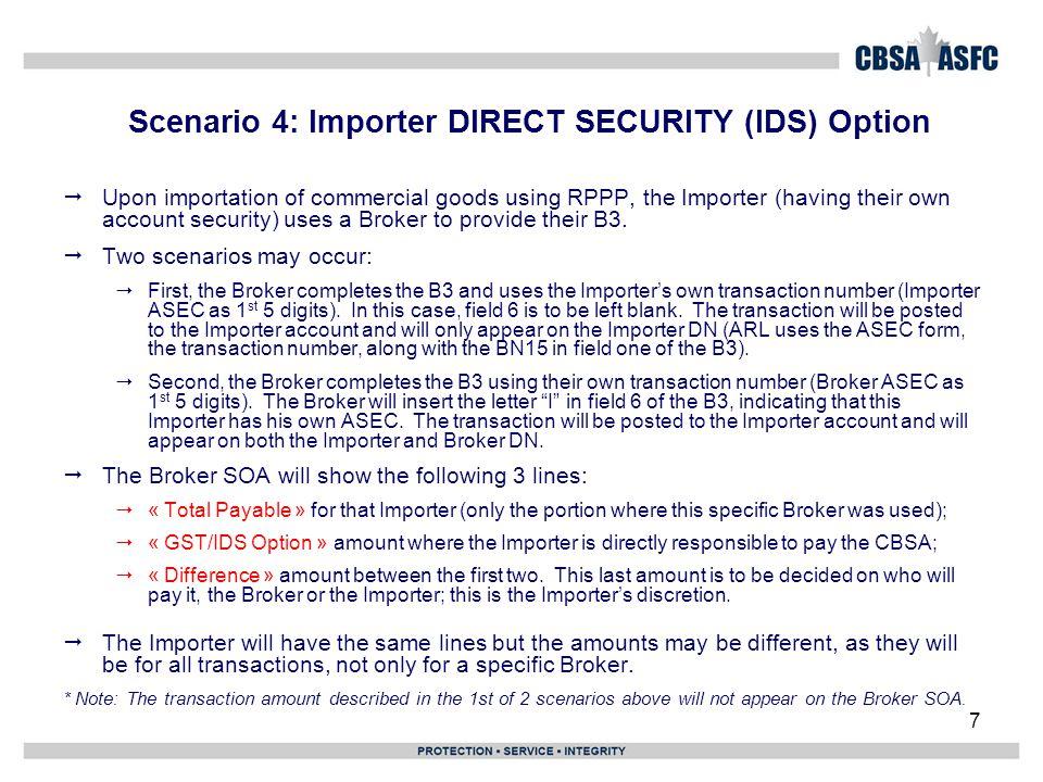 Scenario 4: Importer DIRECT SECURITY (IDS) Option