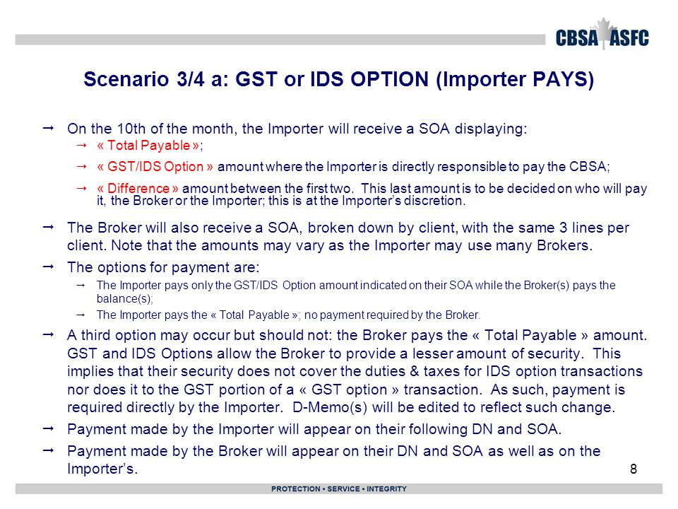 Scenario 3/4 a: GST or IDS OPTION (Importer PAYS)