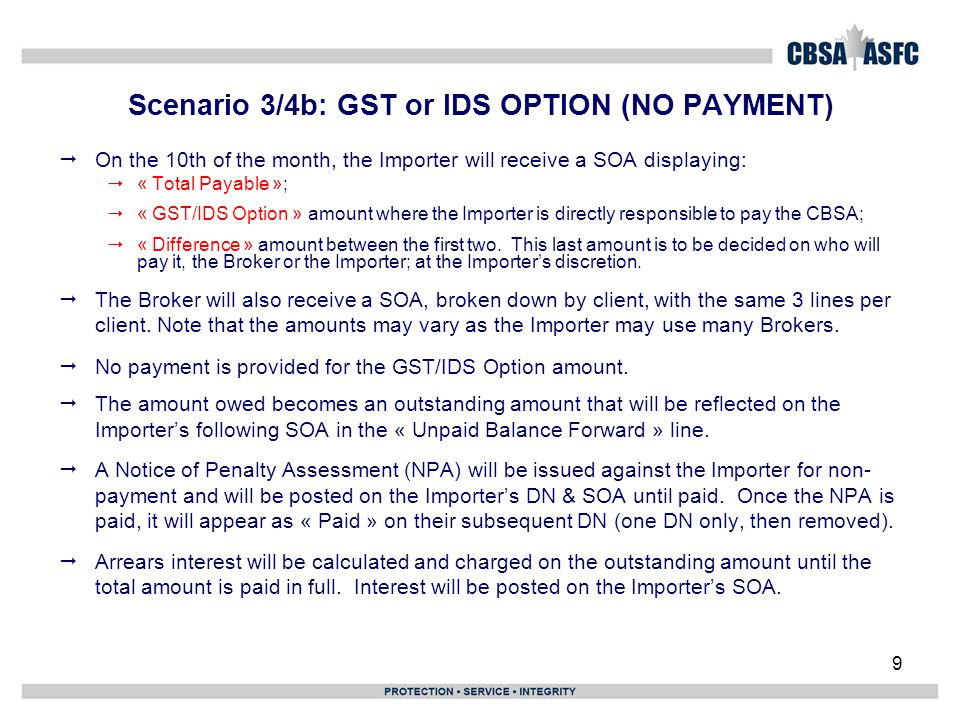 Scenario 3/4b: GST or IDS OPTION (NO PAYMENT)