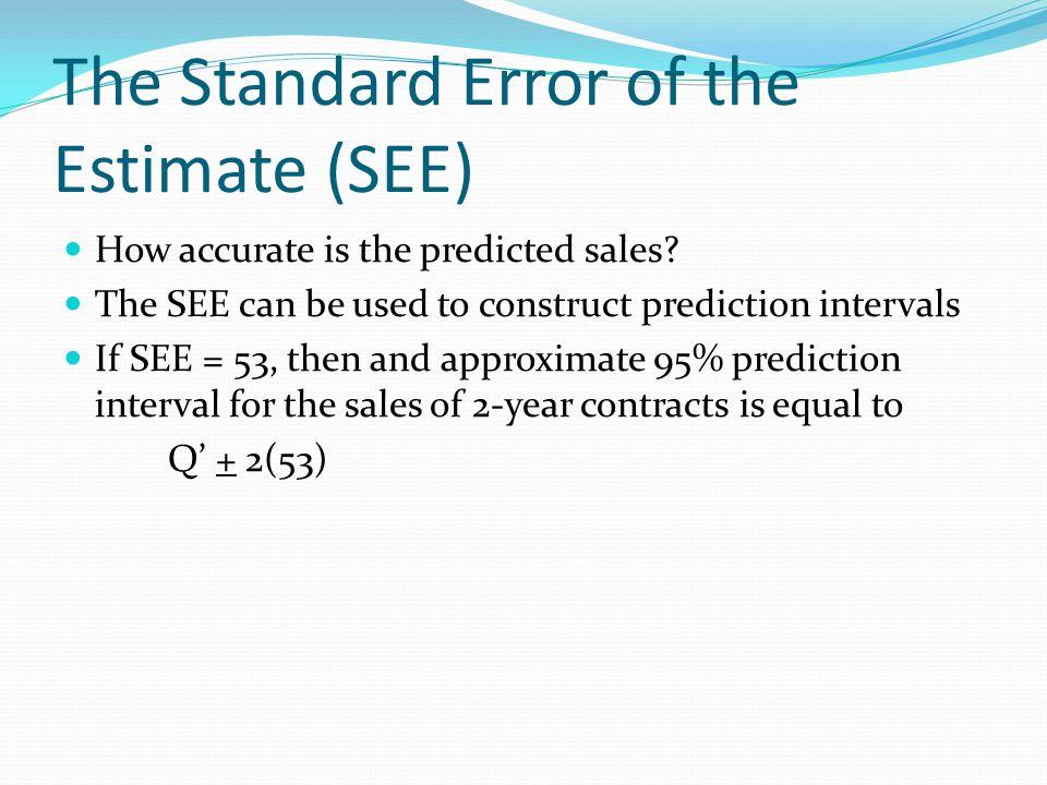 The Standard Error of the Estimate (SEE)