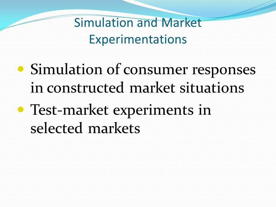 Simulation and Market Experimentations