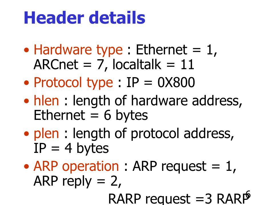 Header details Hardware type : Ethernet = 1, ARCnet = 7, localtalk = 11. Protocol type : IP = 0X800.