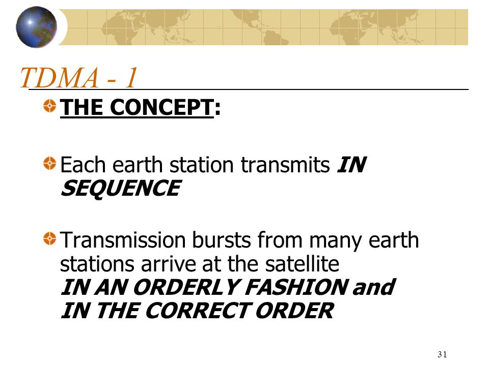 TDMA - 1 THE CONCEPT: Each earth station transmits IN SEQUENCE