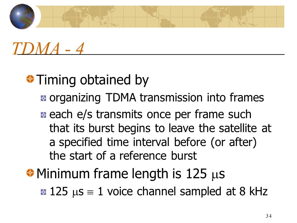 TDMA - 4 Timing obtained by Minimum frame length is 125 s