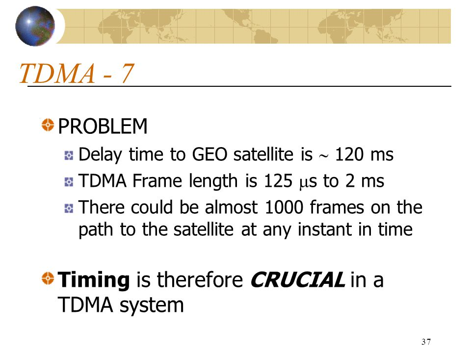 TDMA - 7 PROBLEM Timing is therefore CRUCIAL in a TDMA system