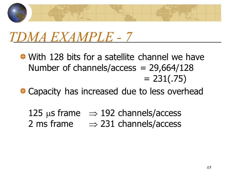TDMA EXAMPLE - 7 With 128 bits for a satellite channel we have Number of channels/access = 29,664/128 = 231(.75)