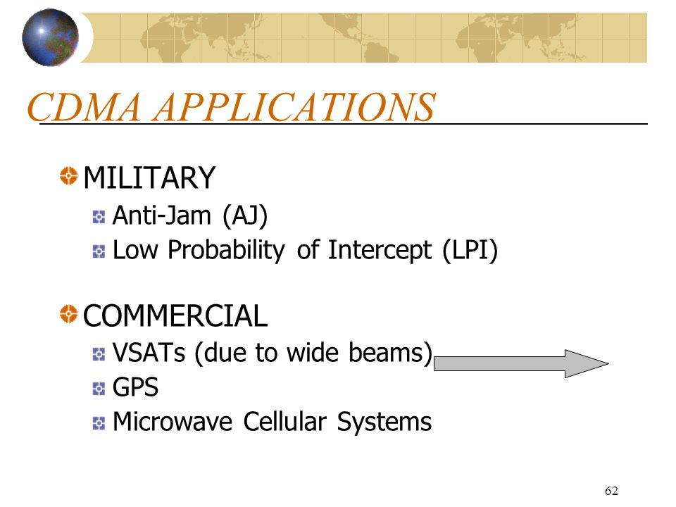 CDMA APPLICATIONS MILITARY COMMERCIAL Anti-Jam (AJ)