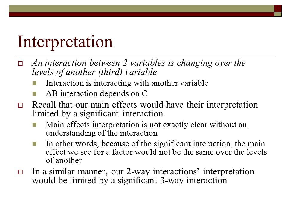 Interpretation An interaction between 2 variables is changing over the levels of another (third) variable.