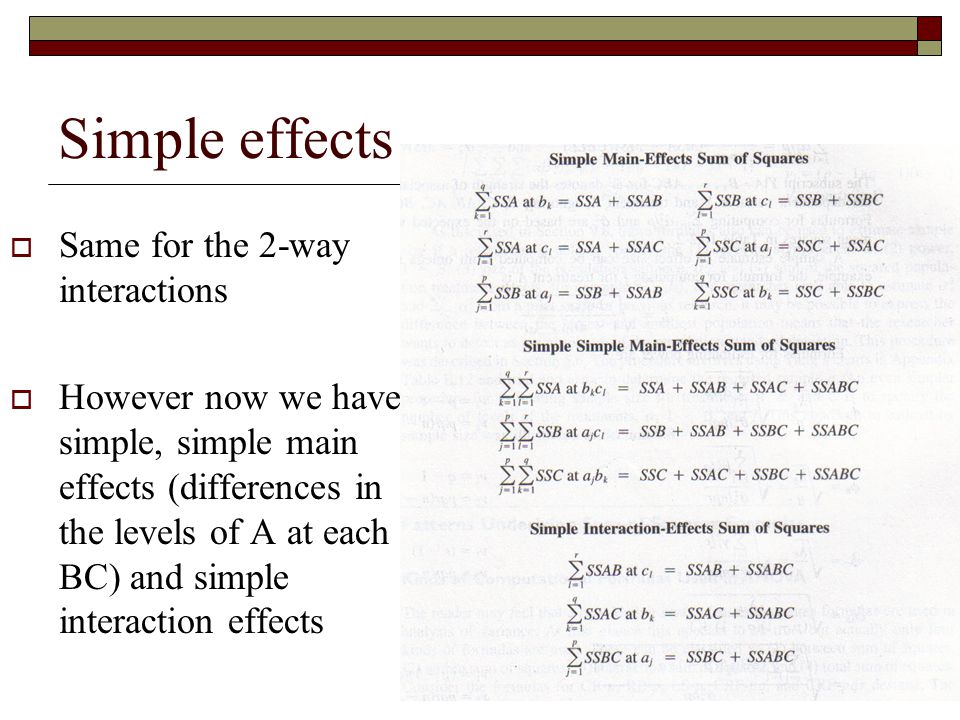 Simple effects Same for the 2-way interactions