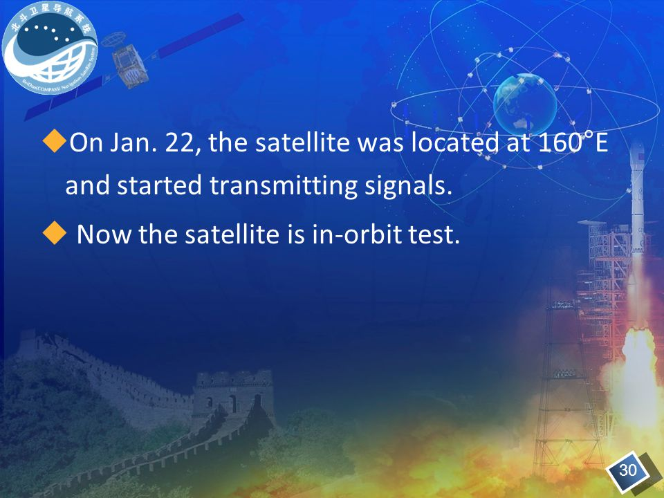 Now the satellite is in-orbit test.