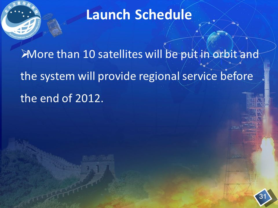 Launch Schedule More than 10 satellites will be put in orbit and the system will provide regional service before the end of 2012.