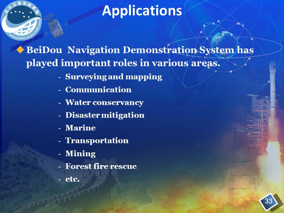 Applications BeiDou Navigation Demonstration System has played important roles in various areas. Surveying and mapping.