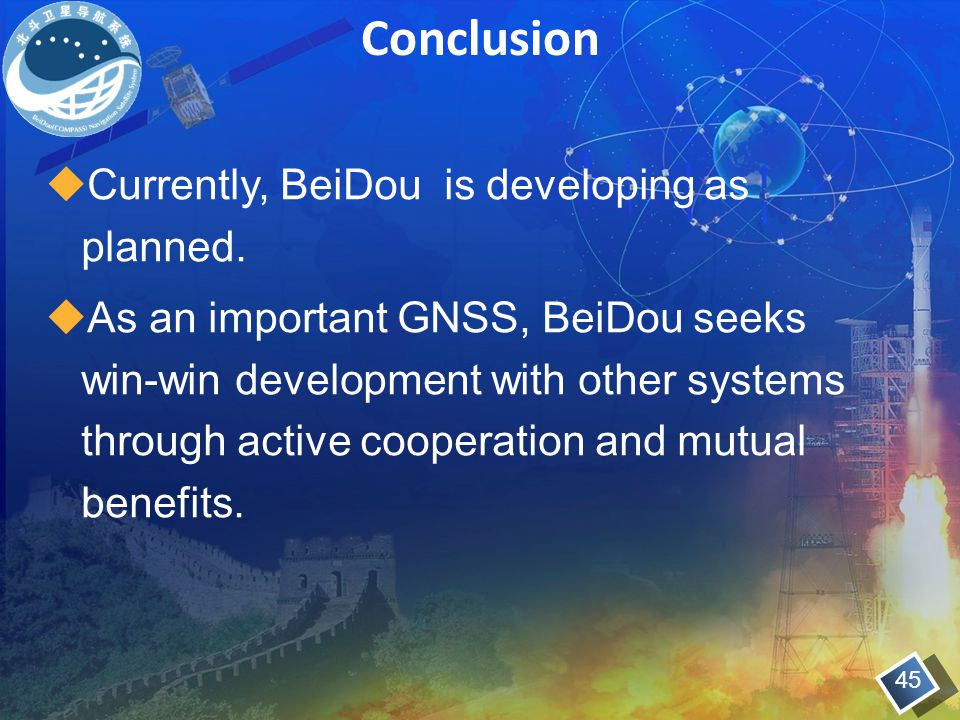 Conclusion Currently, BeiDou is developing as planned.