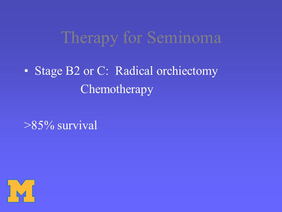 Therapy for Seminoma Stage B2 or C: Radical orchiectomy Chemotherapy