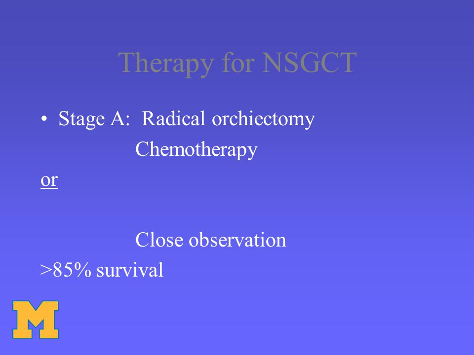 Therapy for NSGCT Stage A: Radical orchiectomy Chemotherapy or