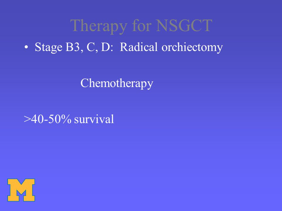 Therapy for NSGCT Stage B3, C, D: Radical orchiectomy Chemotherapy