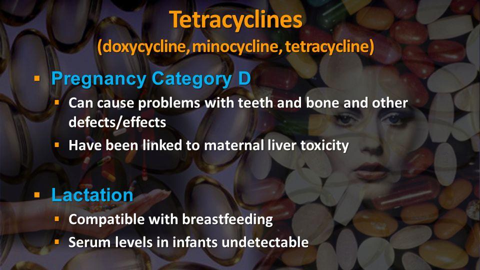 Tetracyclines (doxycycline, minocycline, tetracycline)