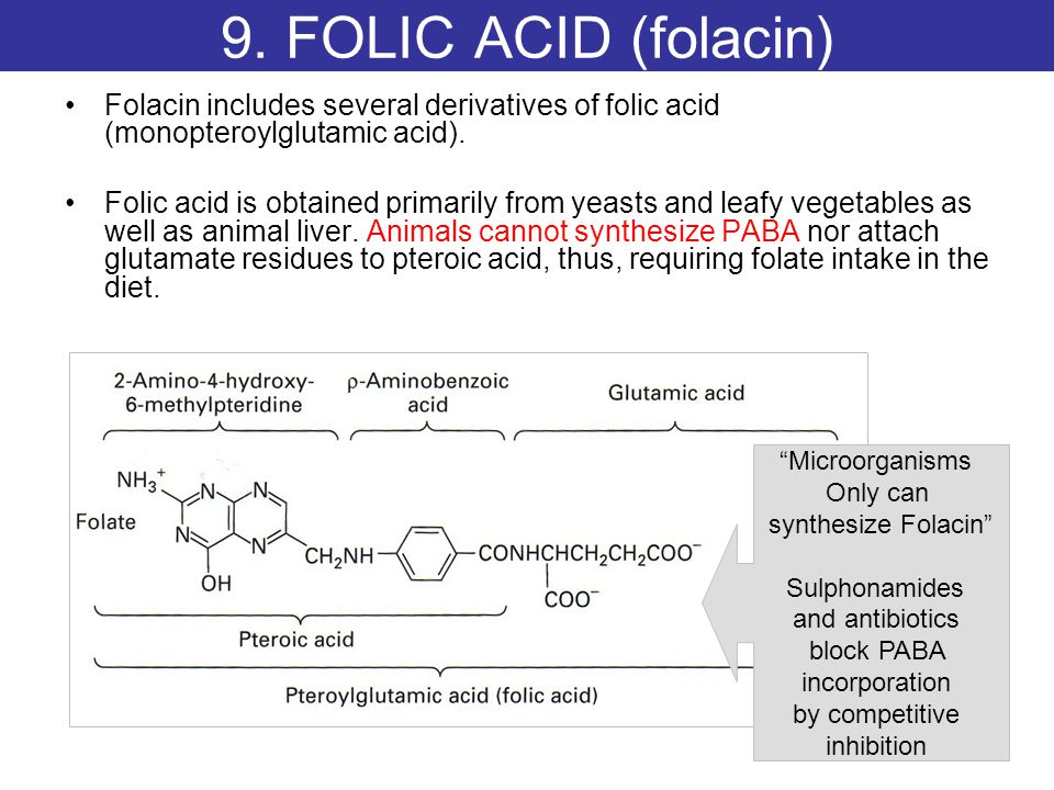 9. FOLIC ACID (folacin) Folacin includes several derivatives of folic acid (monopteroylglutamic acid).