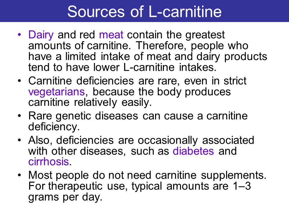 Sources of L-carnitine